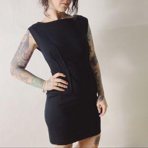 LOFT Pintuck Ponte Stretch Cap Sleeve LBD dress
